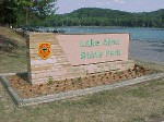 Sign at the entrance of the First Beach at Lake Alma